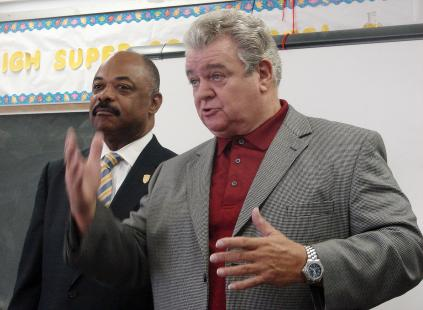 U.S. Rep. Bob Brady and PFT President Jerry Jordan (left) called for passage of the American Jobs Act