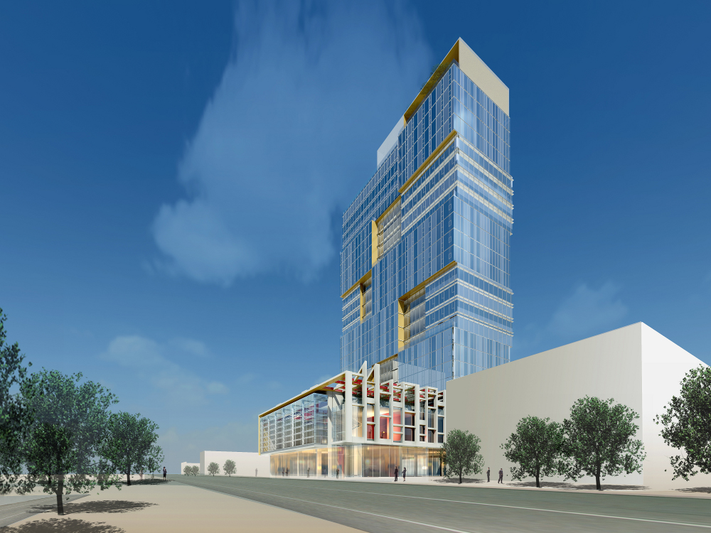 Another view of the proposed tower. Rendering courtesy PCDC
