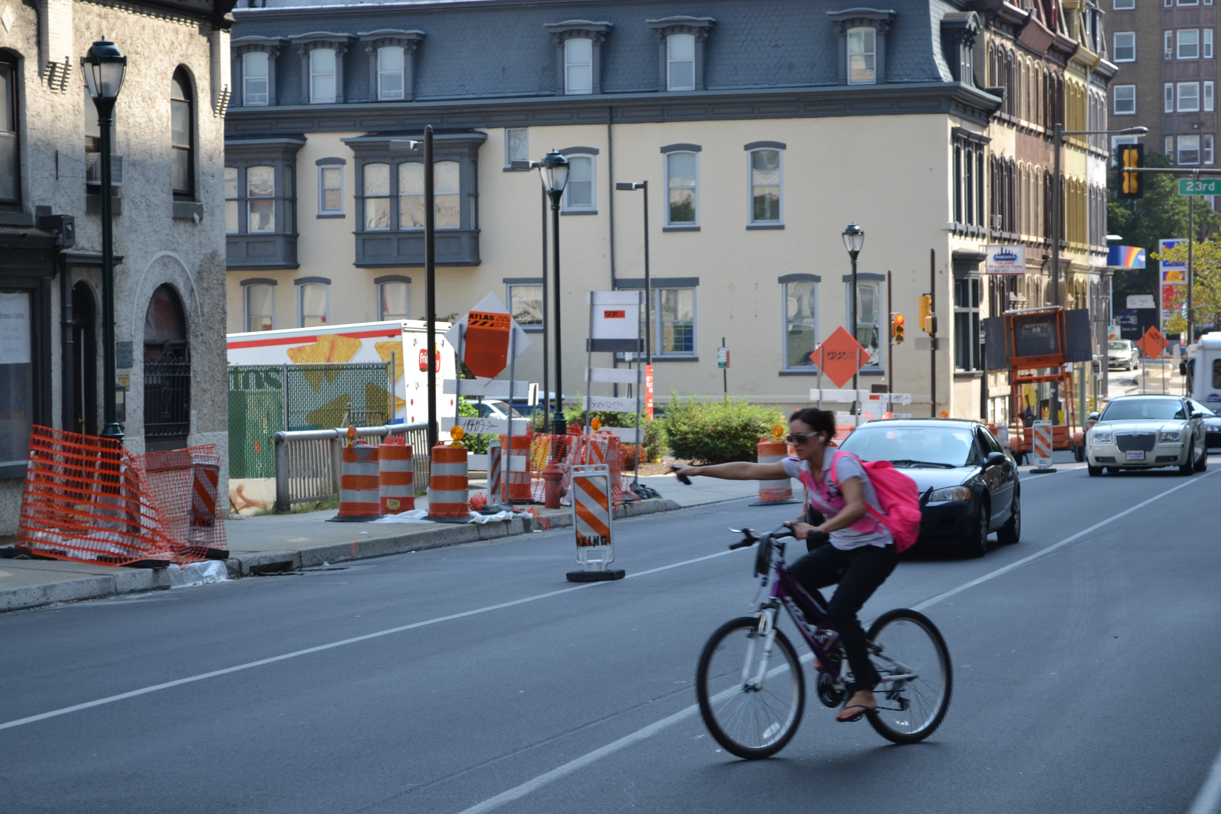 Despite detour signs, some cyclists still used the bridge during construction