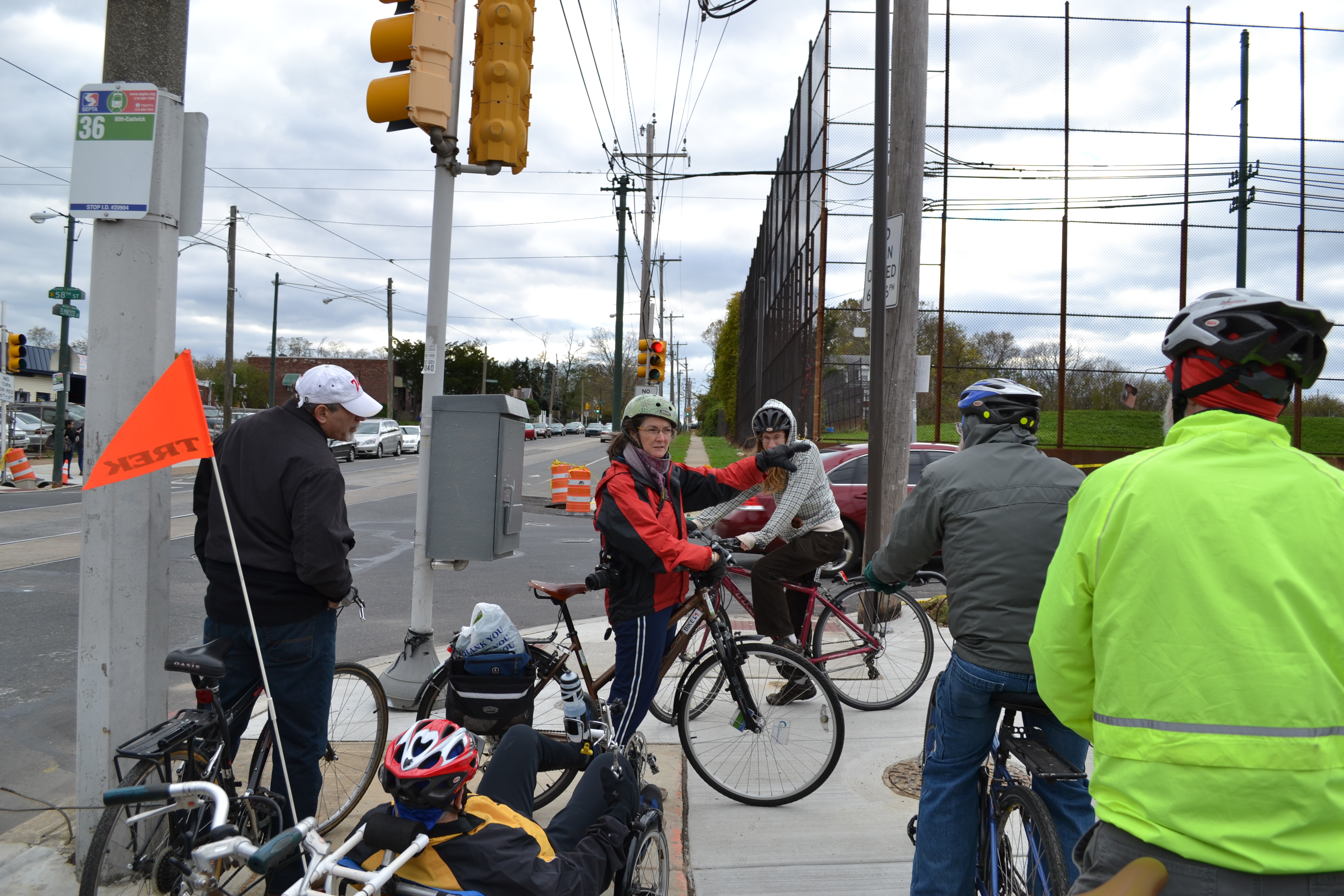 Sarah Clark Stuart explained the 58th Street Greenway vision to tour participants Saturday