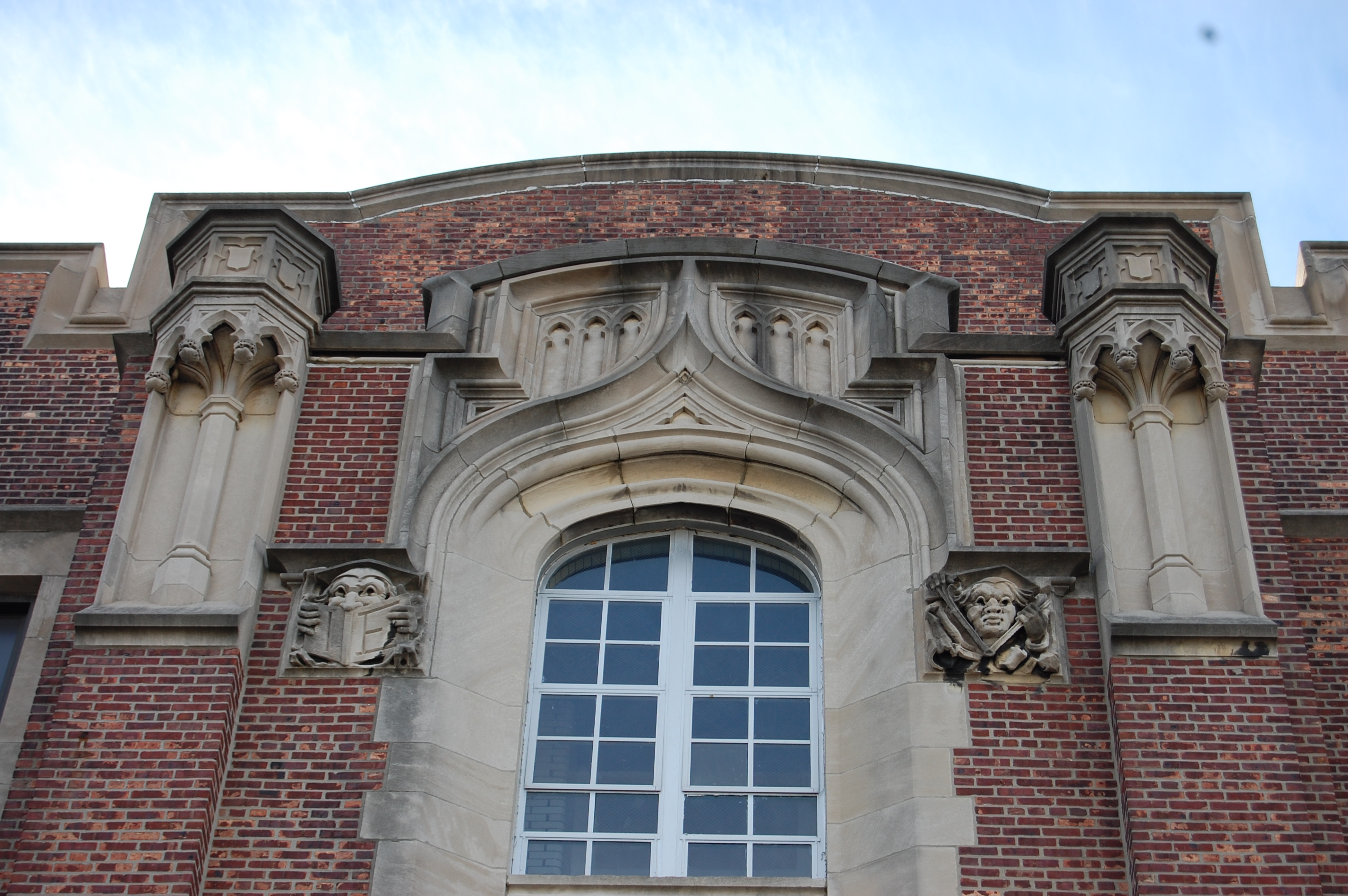 Gothic details were common in deCourcy Richards buildings. He designed 30 schools for the district.