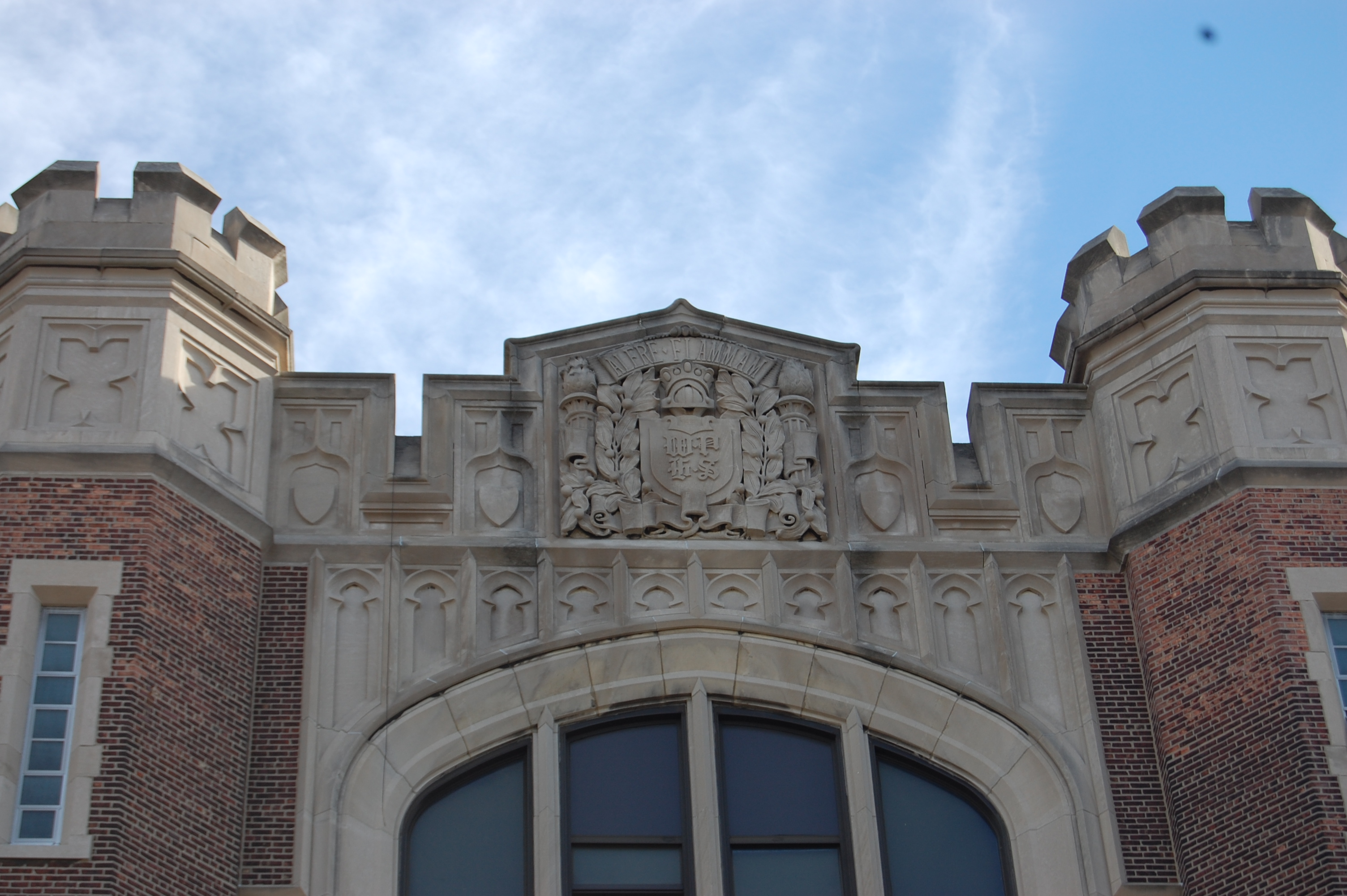 Turrets atop the building's western entrance.