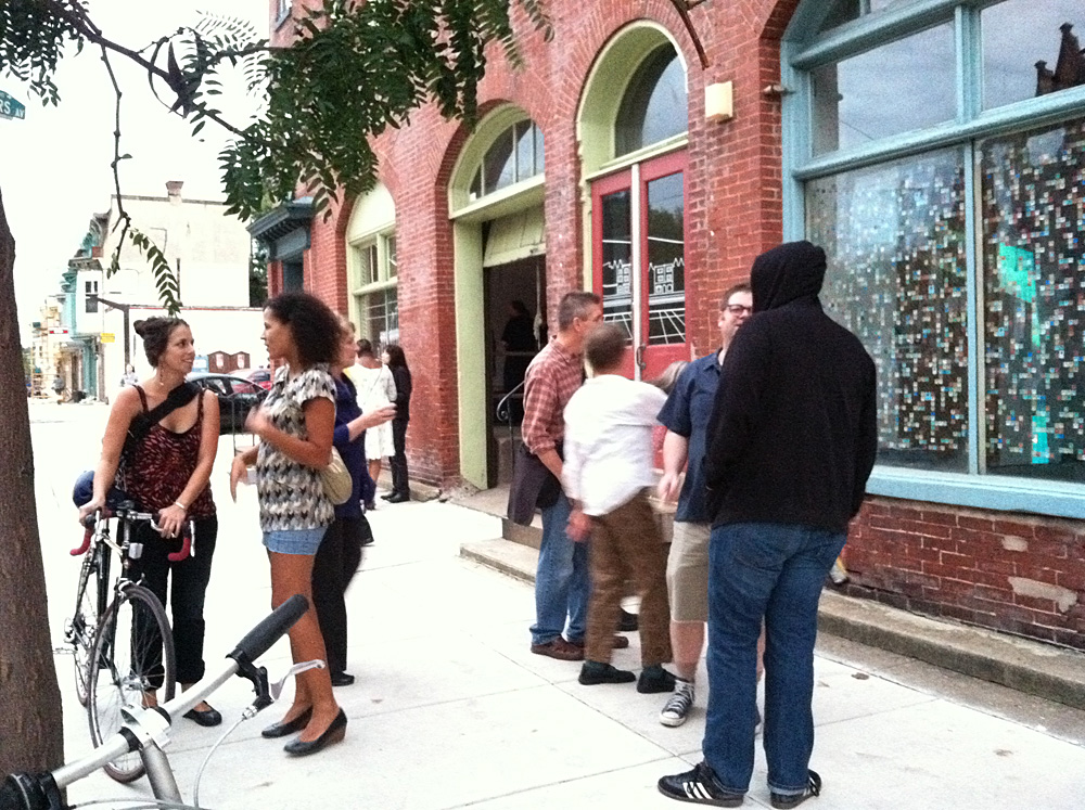 Crowds gathered infront of multiple art installations near the former location of Philadelphia's punk rock music venue Killtime.