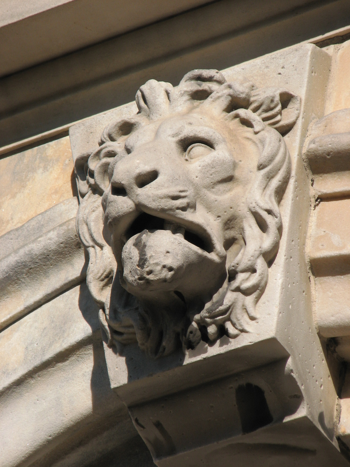 Financial lions protect the first level of the bank.