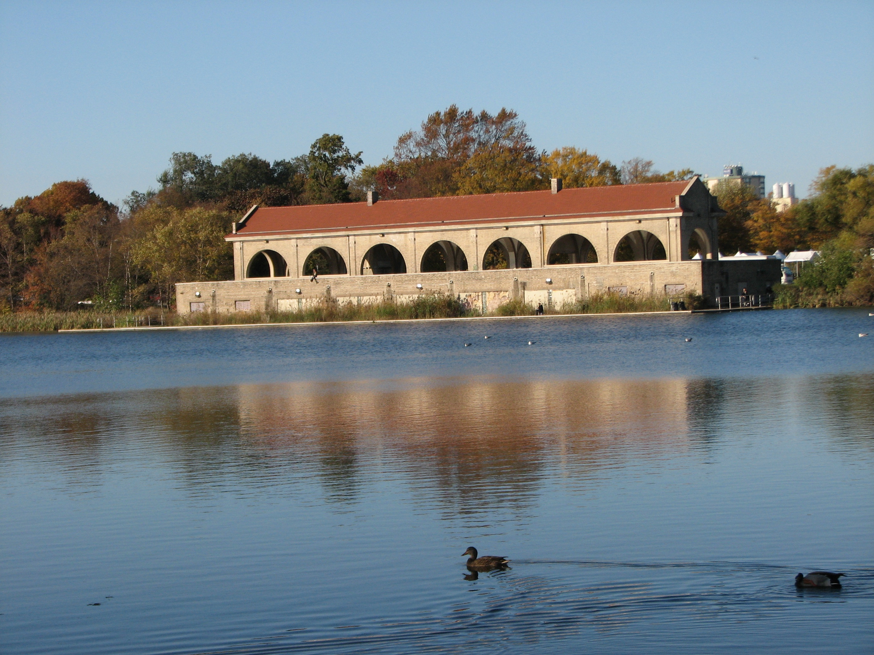 The former boathouse/Russian Tea House is the centerpiece of FDR Park.