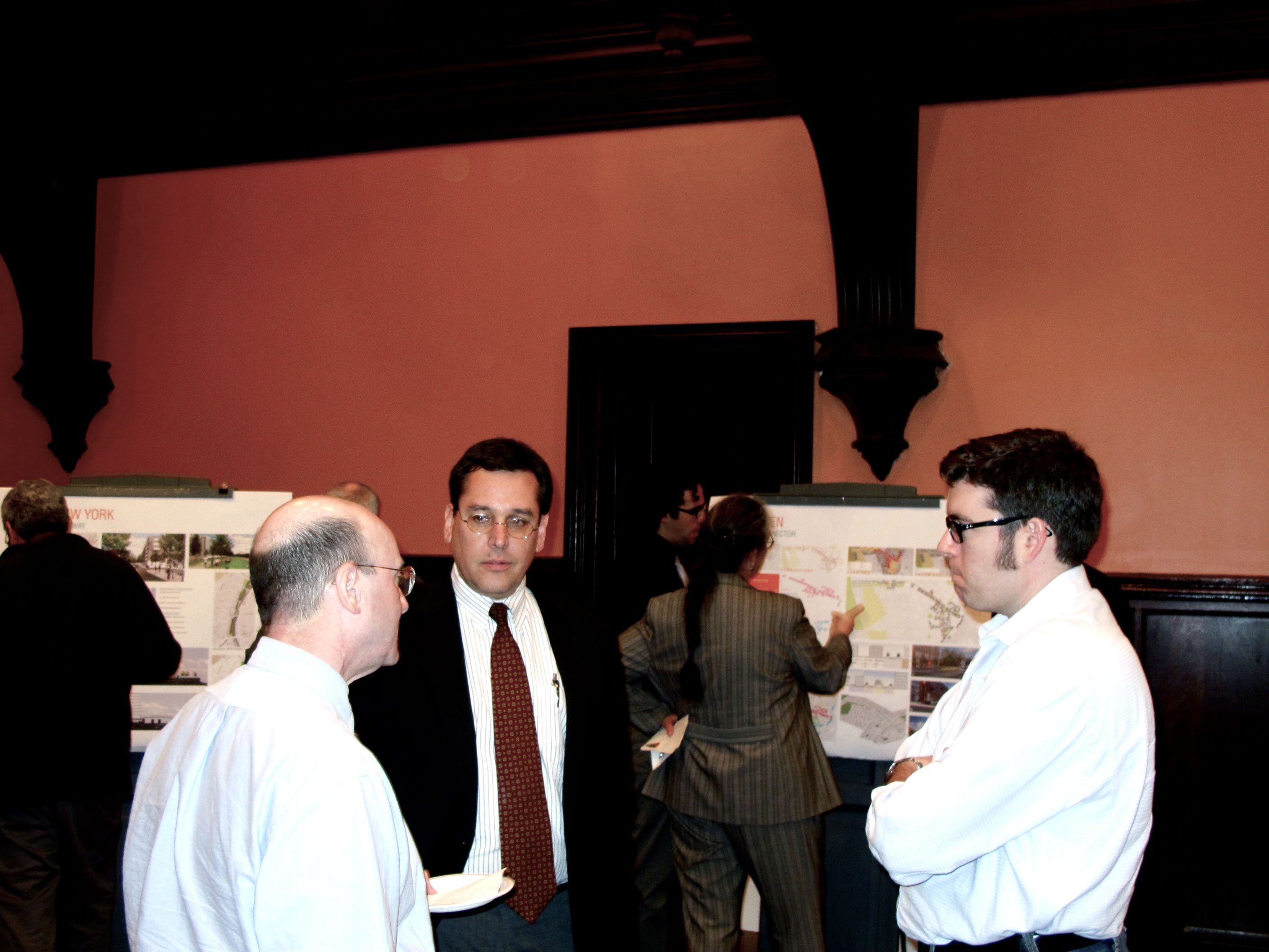 From left: PennDOT's Chuck Davies, Harris Steinberg of PennPraxis and URS planner Doug Robbins discuss presentations