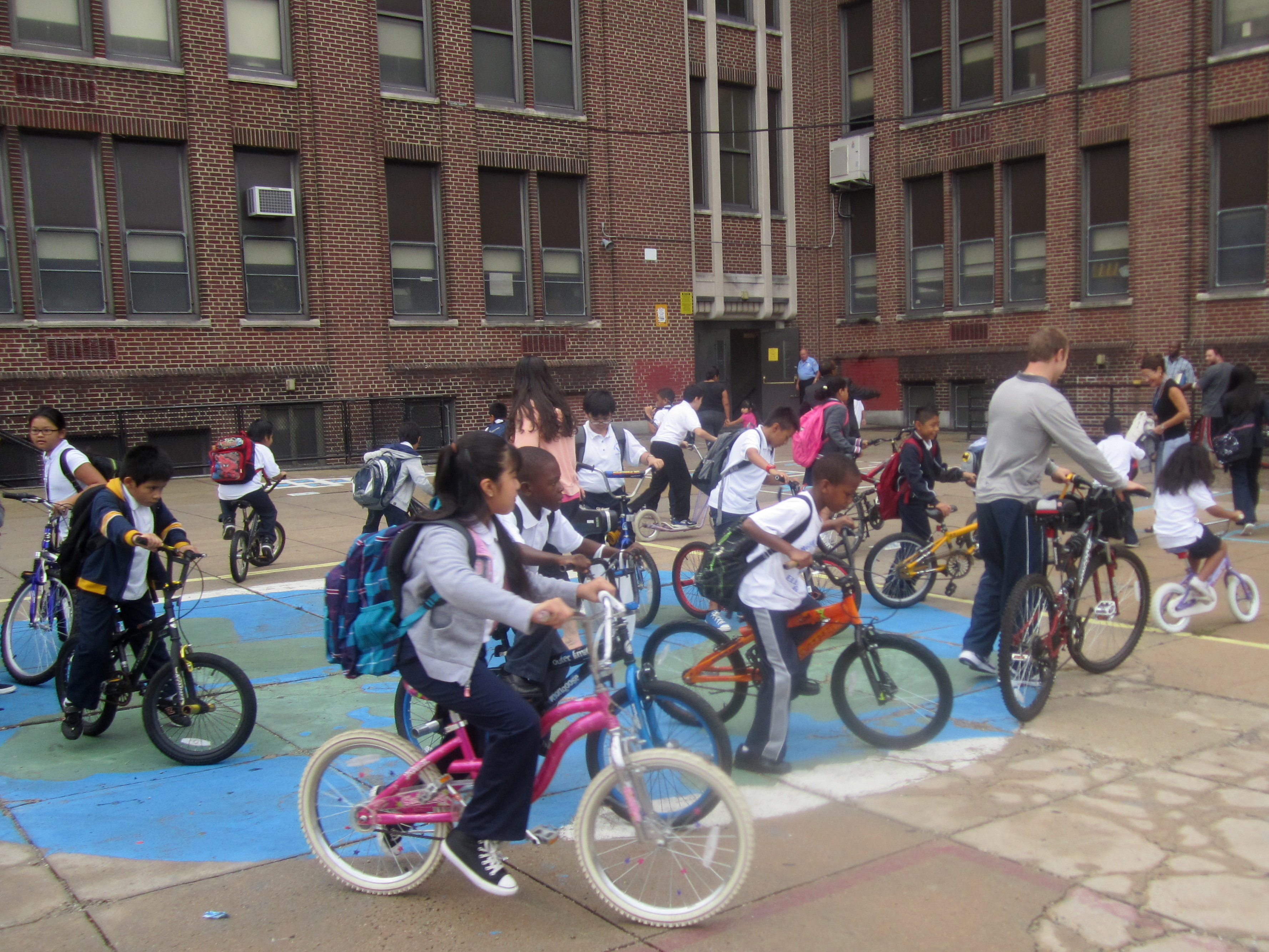 Students gathered in the George Washington Elementary School courtyard after walking and biking to school Thursday