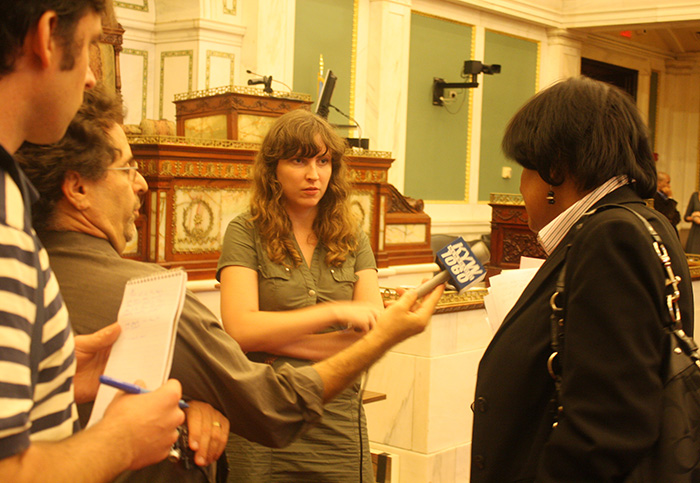 Councilwoman Jannie Blackwell spoke with reporters about Re-Entry Facilities after the hearing