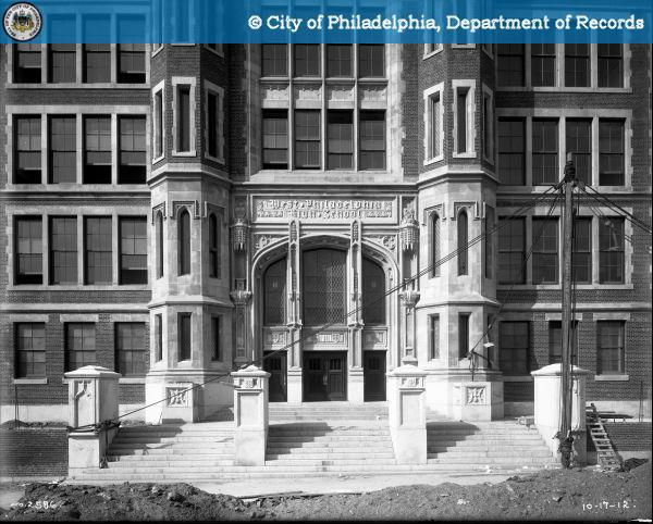 The 48th Street entrance. W. Philly HIgh was designed by Henry deCourcy Richards. PhillyHistory.org