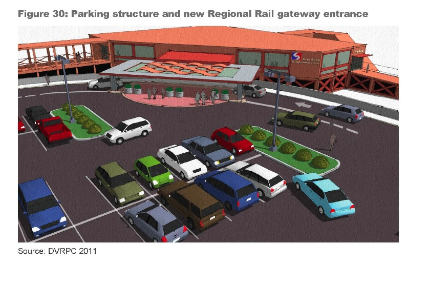 A new entrance to Fern Rock envisioned by DVRPC.