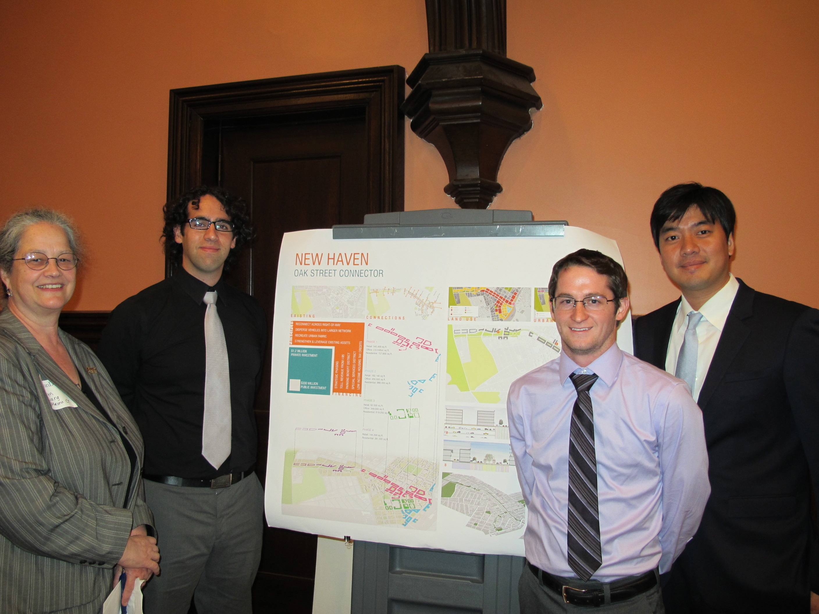 New Haven team: City planning director Karyn Gilvargn and students Jordan Block, Mike Ruane and Ho Sung Park