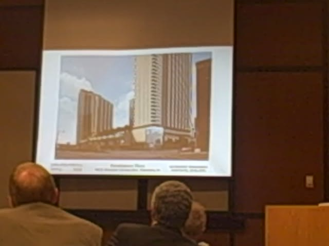 Commissioners watch the WRA presentation for Renaissance Plaza
