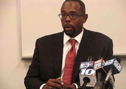Acting Superintendent Leroy Nunery at press briefing this morning where he announced recommended school closings.