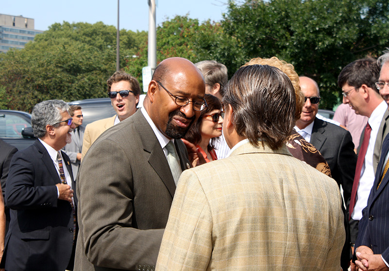 Mayor Michael Nutter talks with former councilman Frank DiCicco
