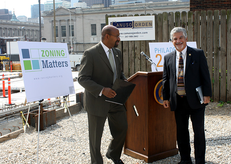 Mayor Michael Nutter and Deputy Mayor Alan Greenberger celebrated the enactment of a new zoning code in August