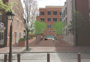 The previous public space rendering
