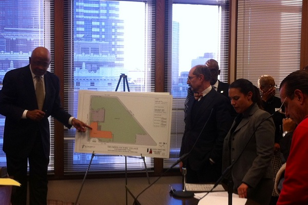 Attorney Robert Archie, architect Jerry Roller and attorney Allison Levy present plans for 1801 Courtland