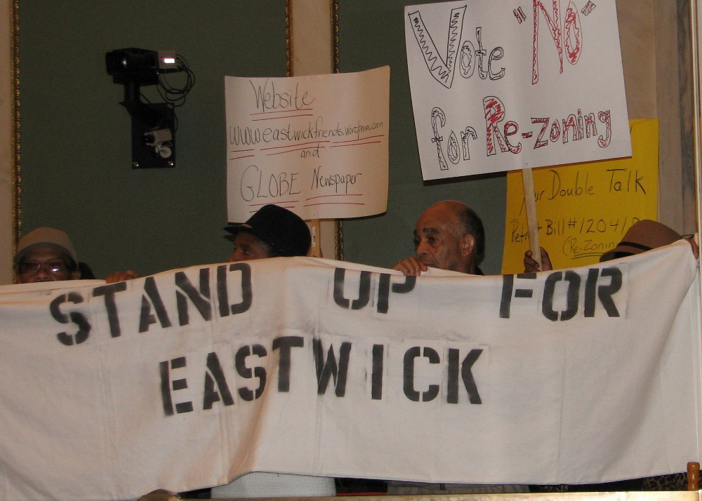 Eastwick residents at the city council hearing on flooding in their community