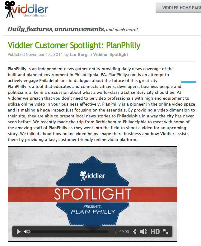 Viddler Customer Spotlight: PlanPhilly