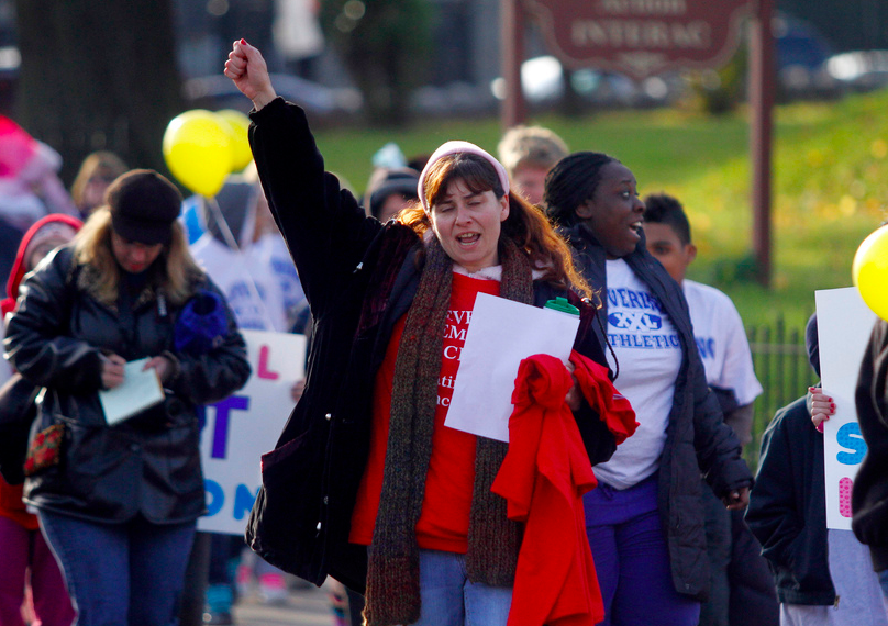 Parent Suzann Hitchner was one of dozens of Levering supporters who marched up Ridge Avenue. Photo: Jessica Kourkounis
