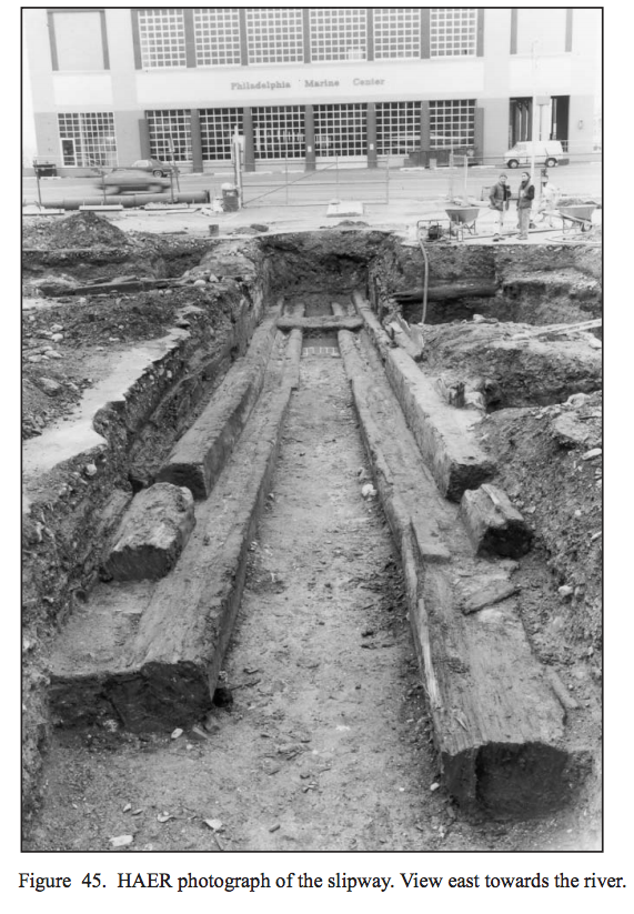The shipway found on the eastern portion of the site in 1987 / Philadelphia Archaeological Forum