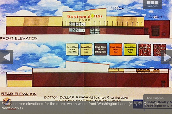 Front and rear elevations for the store, which would front Washington Lane. (Amy Z. Quinn/for NewsWorks)