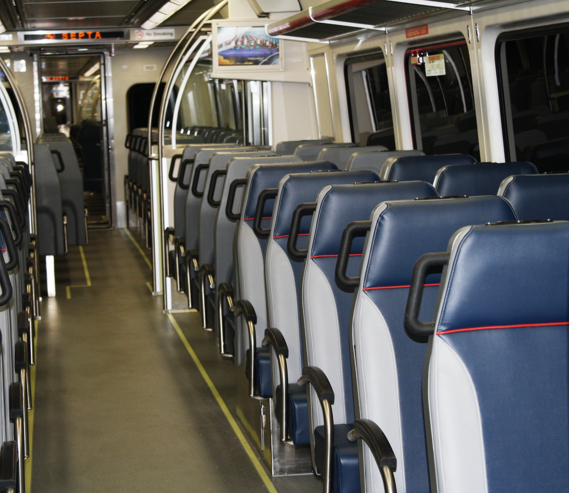 The Silverliner Vs have 109 seats, 11 fewer than the Silverliner IVs, which had 120 seats. Photo courtesy of SEPTA
