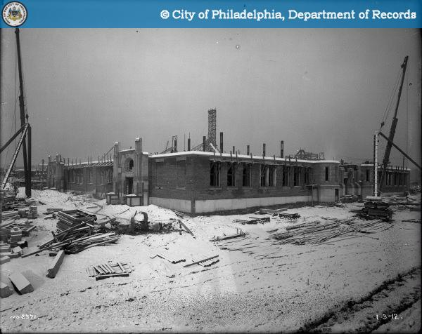 West Philadelphia High, under construction in 1912. Photo from PhillyHistory.org