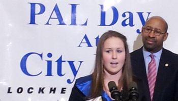 Tacony's Erin Dwyer shadowed Mayor Michael Nutter Wednesday for PAL Day at City Hall. Photo/Tom MacDonald for NewsWorks