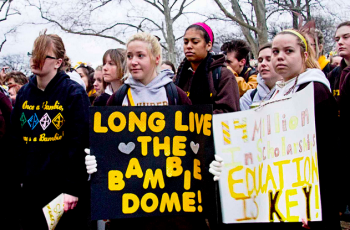 St. Hubert's students rally on Torresdale Avenue in January. Photo/Michelle Alton