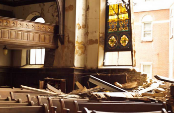 The collapsed wall of Frankford Central United Methodist Church, as seen from the inside. Photo/Stan Lupo