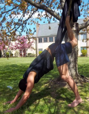 Frankford resident Paul Corbin heads to Southampton for aerial yoga on a sunny spring day. Photo/Matthew Flowers