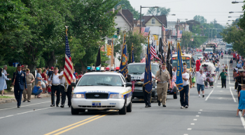 The 2011 Lawncrest Fourth of July parade rolls down Rising Sun Avenue toward the rec center. Photo/Bill Achuff