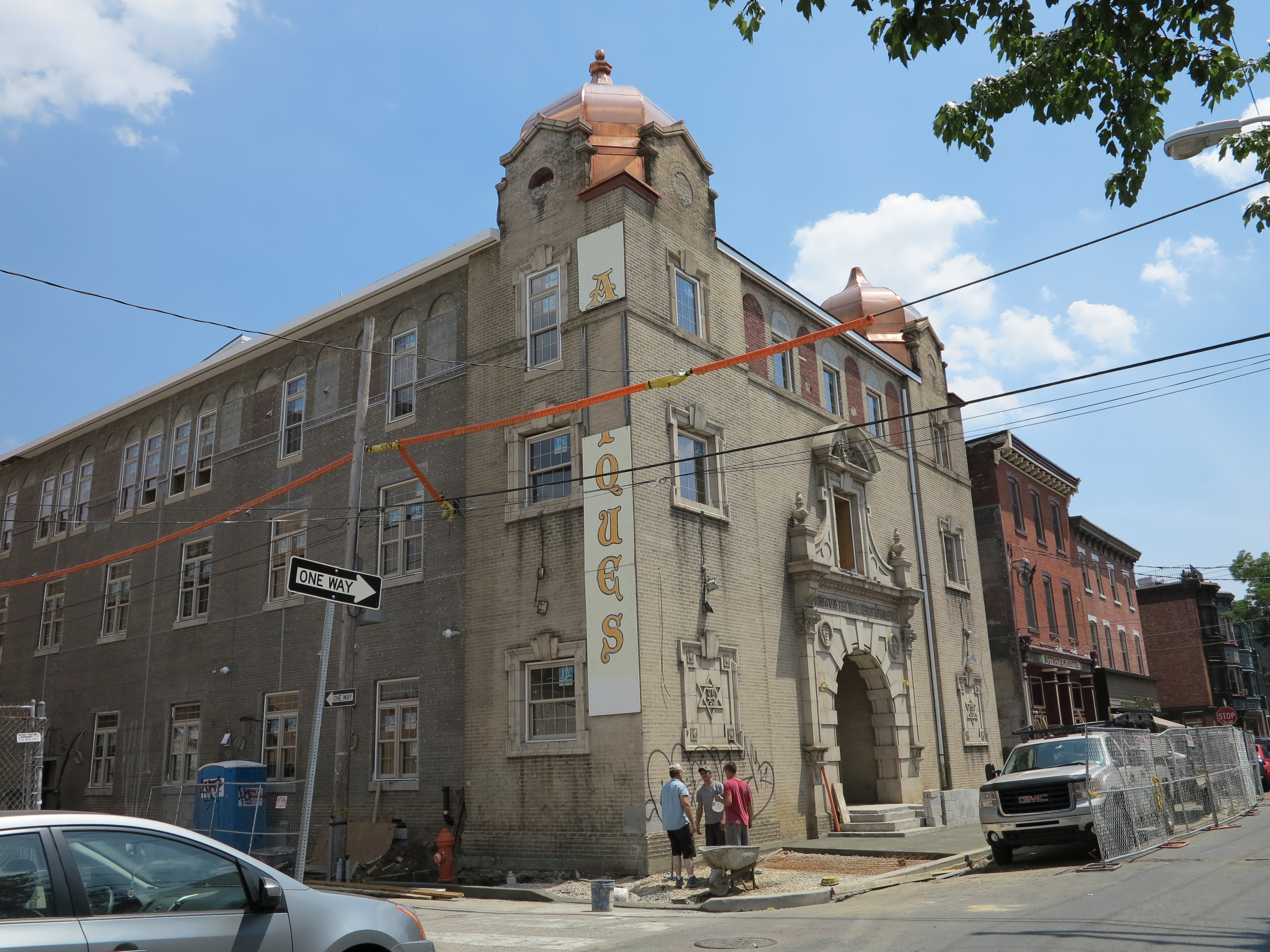 New domes on historic synagogue being converted to residential on South 6th Street, June 2014