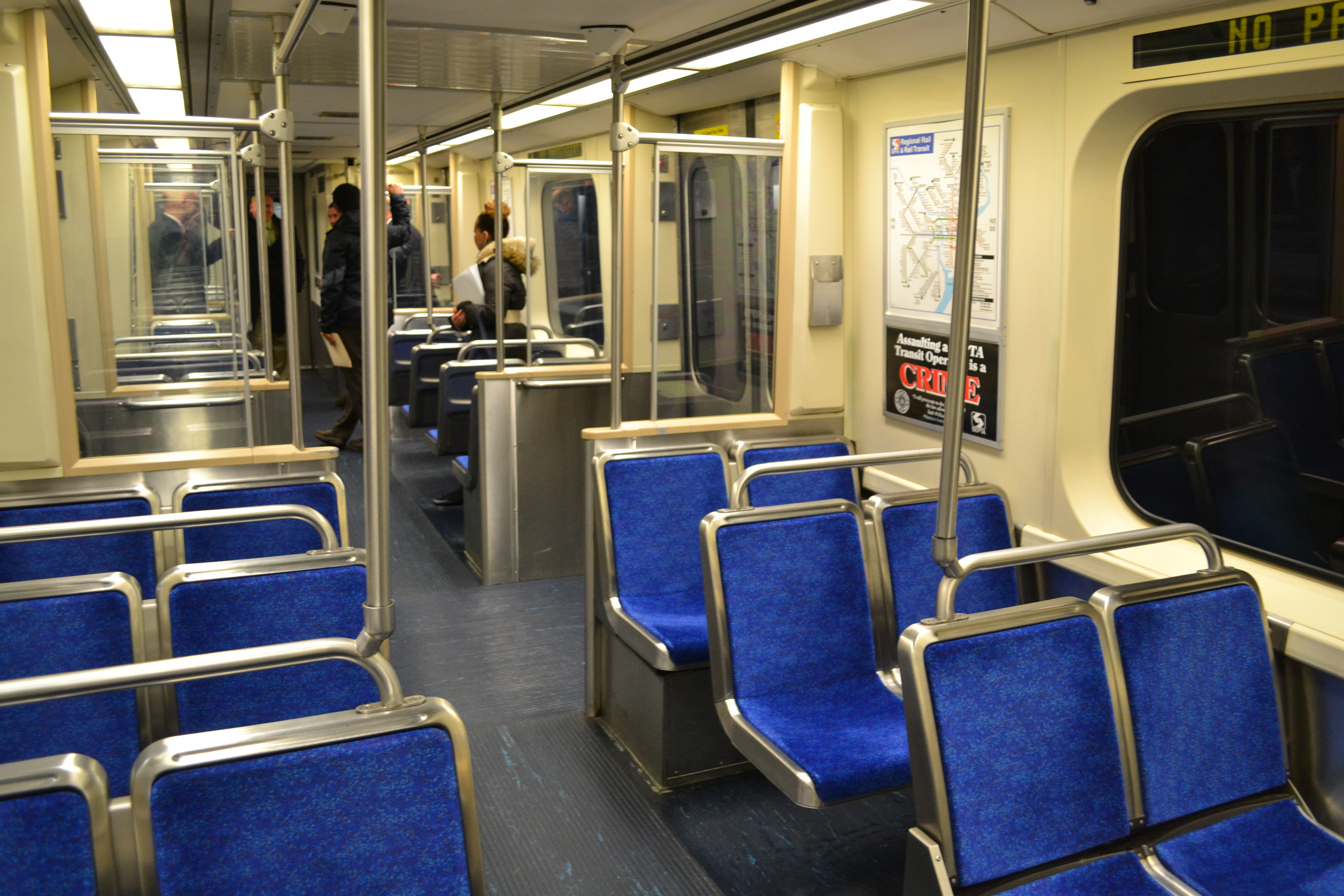 The lighting inside SEPTA's MFL cars today