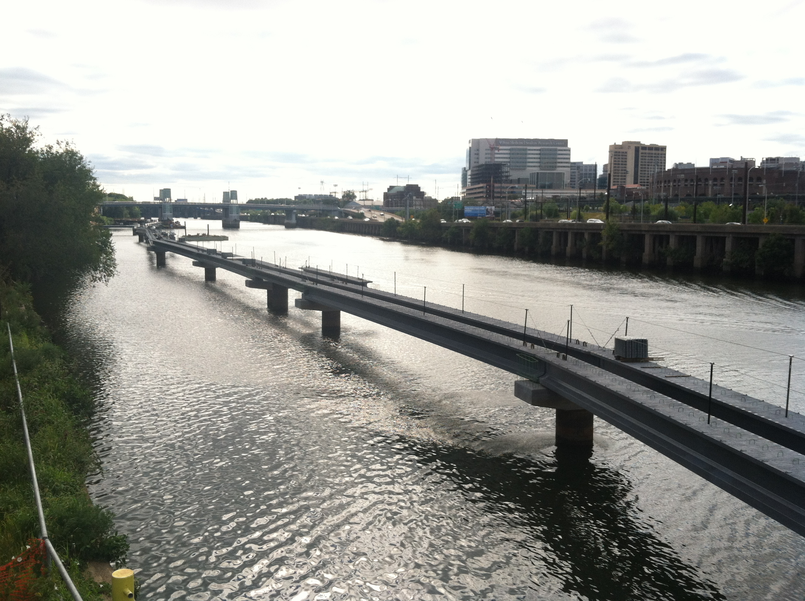 Visible progress on the Schuylkill River Boardwalk, looking south from the CSX Bridge