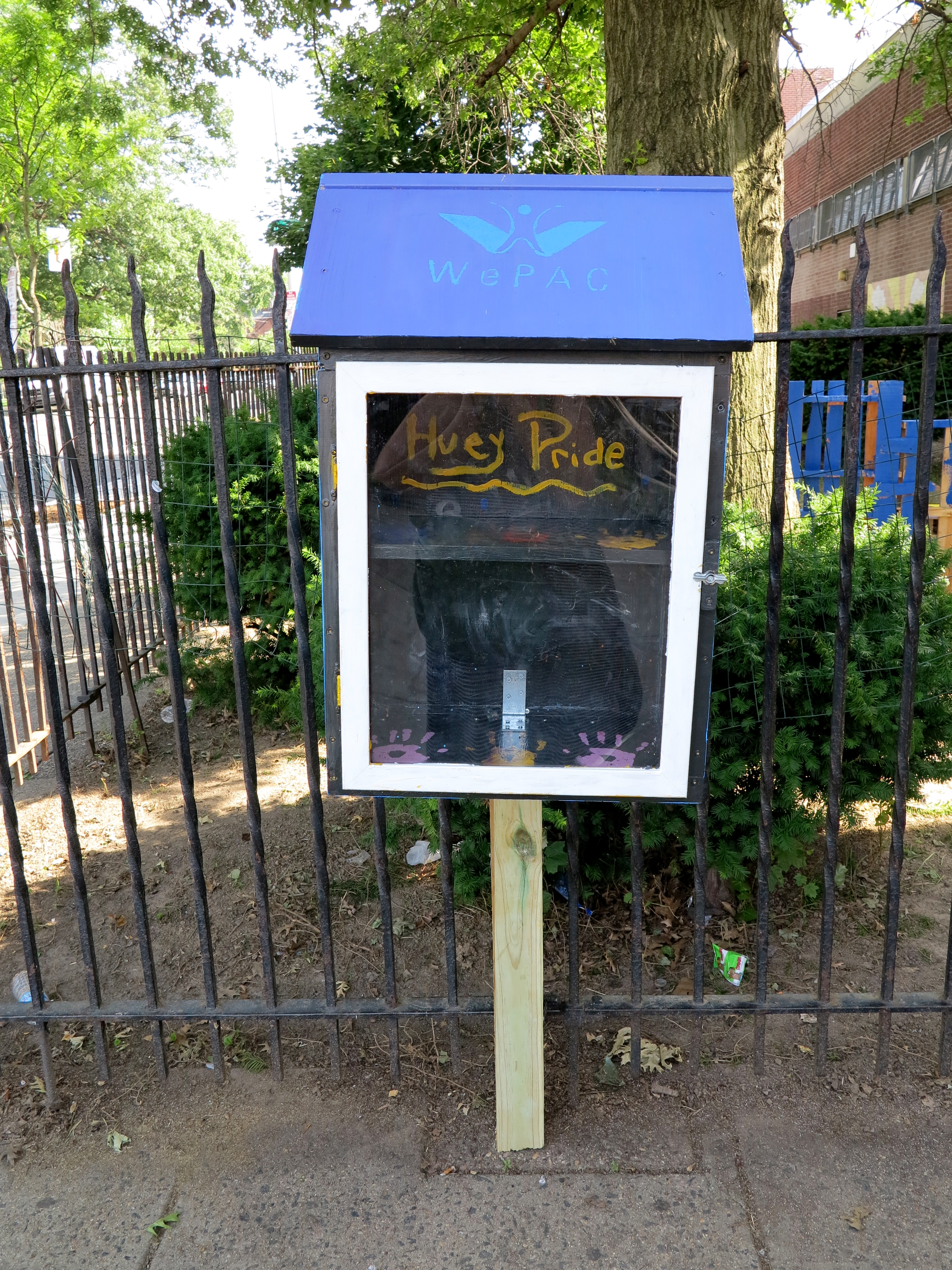 WePAC's mini library outside Huey Elementary