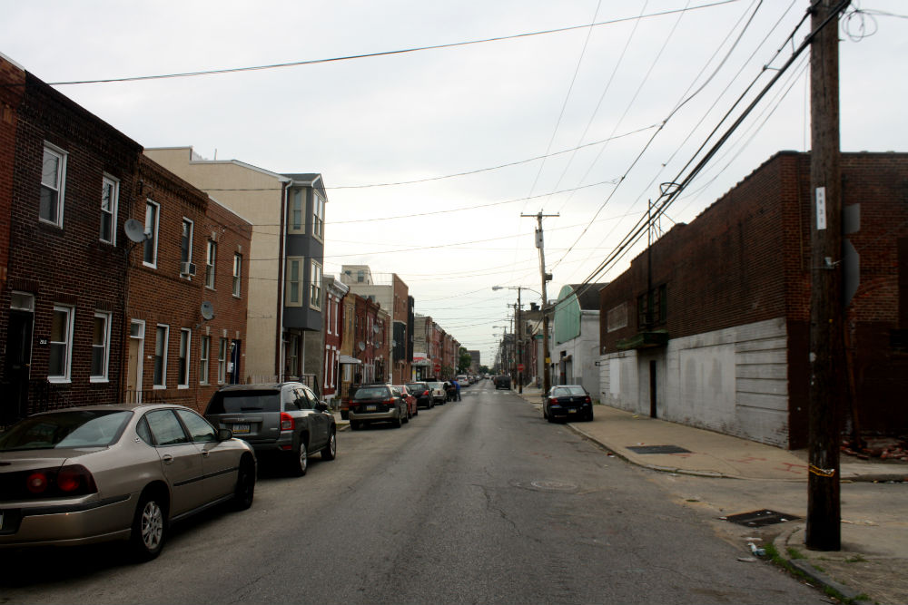 2000 block of Wharton Street. Both warehouses on right were slated for redevelopment.