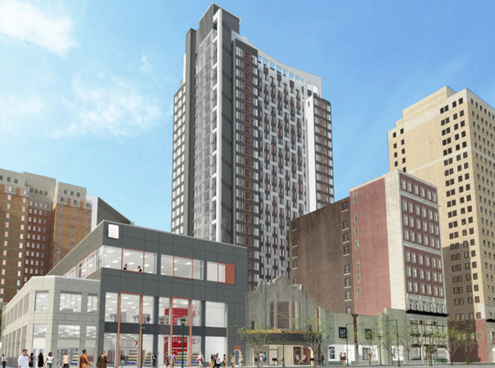 A rendering shows Eimer Architecture's design for the new tower on the site of the old Boyd Theatre.