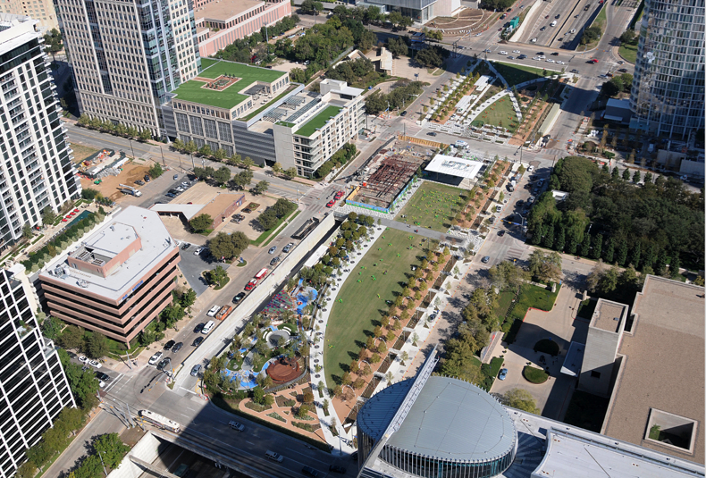 An aerial view of Klyde Warren Park (photo credit Kye R. Lee, Dallas News)