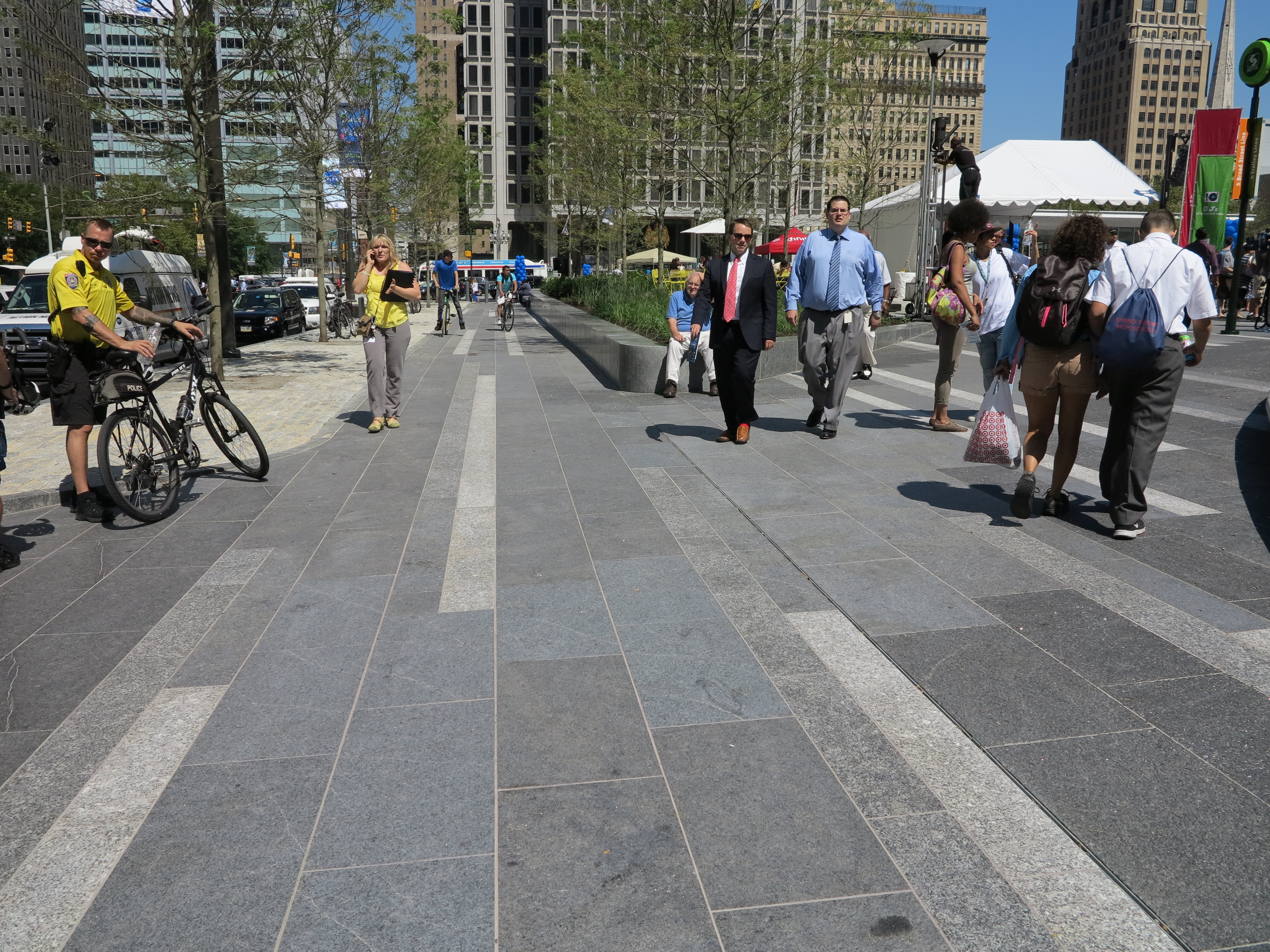 Bands of granite in different tones and textures at Dilworth Park