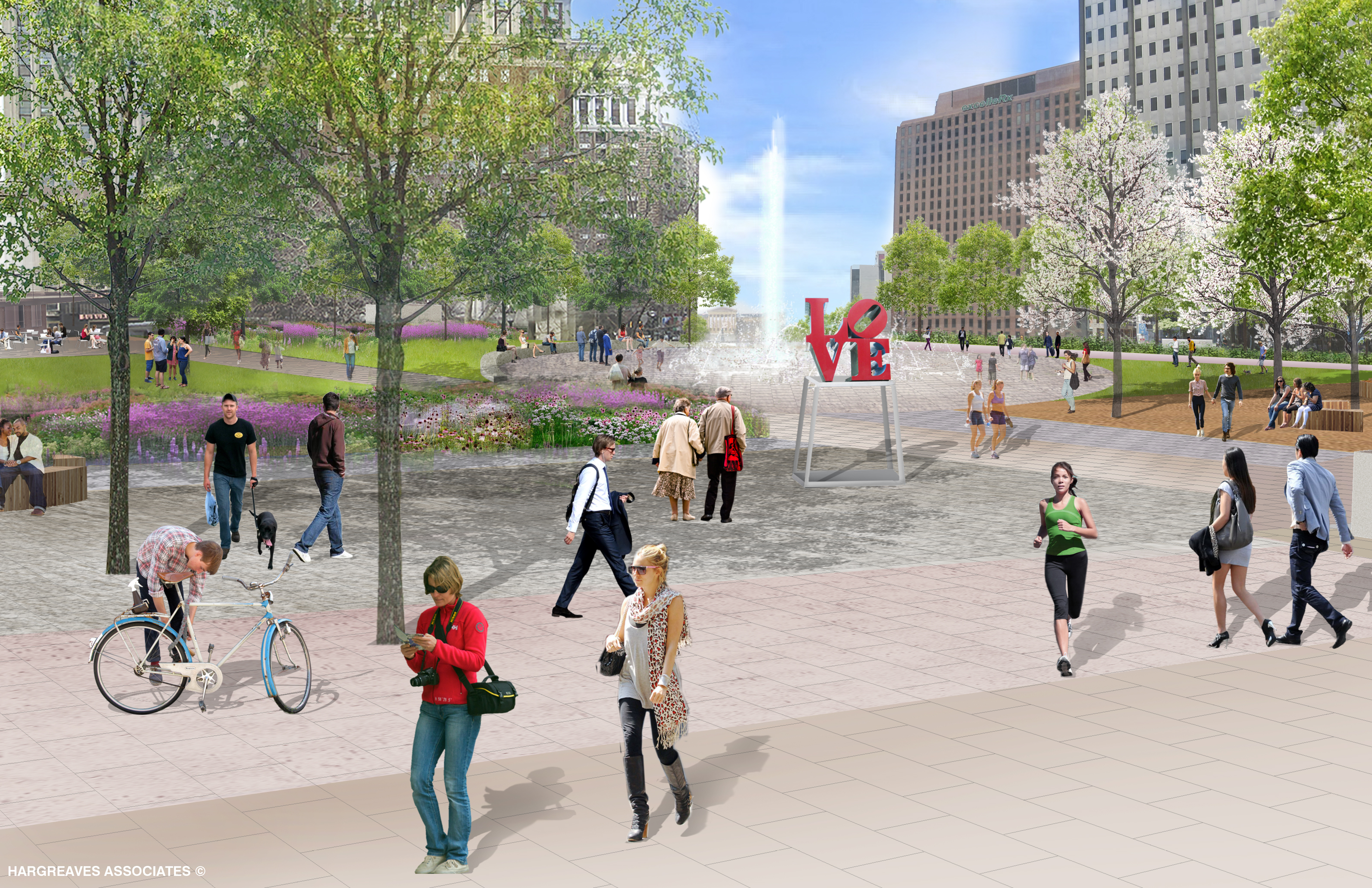 Conceptual rendering of LOVE Park looking toward Parkway, April 2015 | Hargreaves Associates