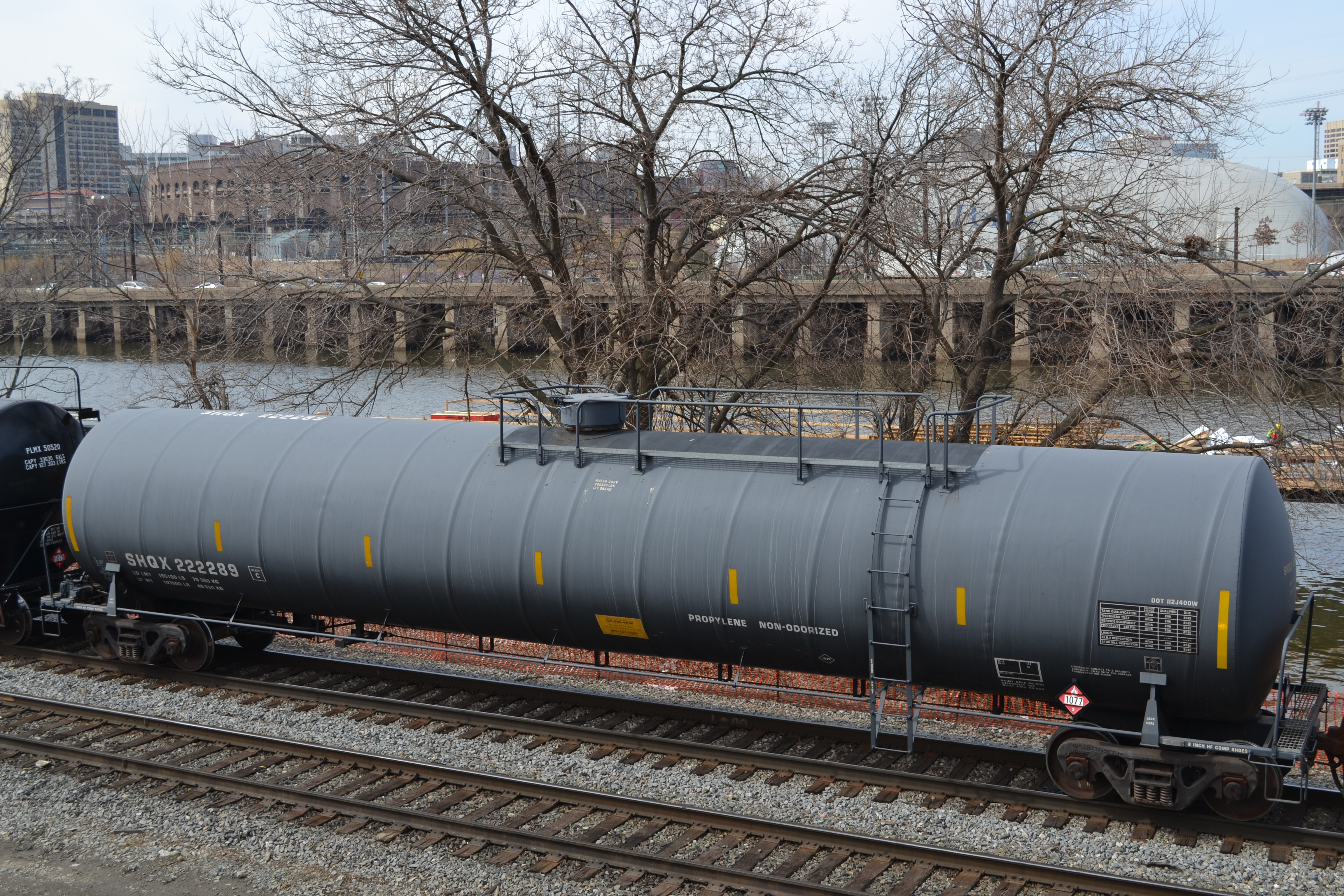 Freight cars on CSX tracks along the Schuylkill River