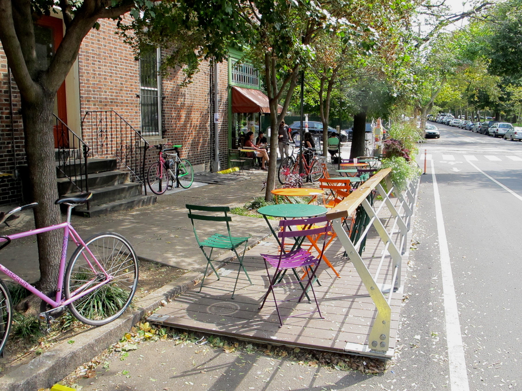 Parklet outside the Green Line Cafe at 43rd and Baltimore Avenue.