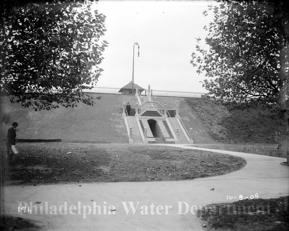 Historic photo of the East Reservoir steps