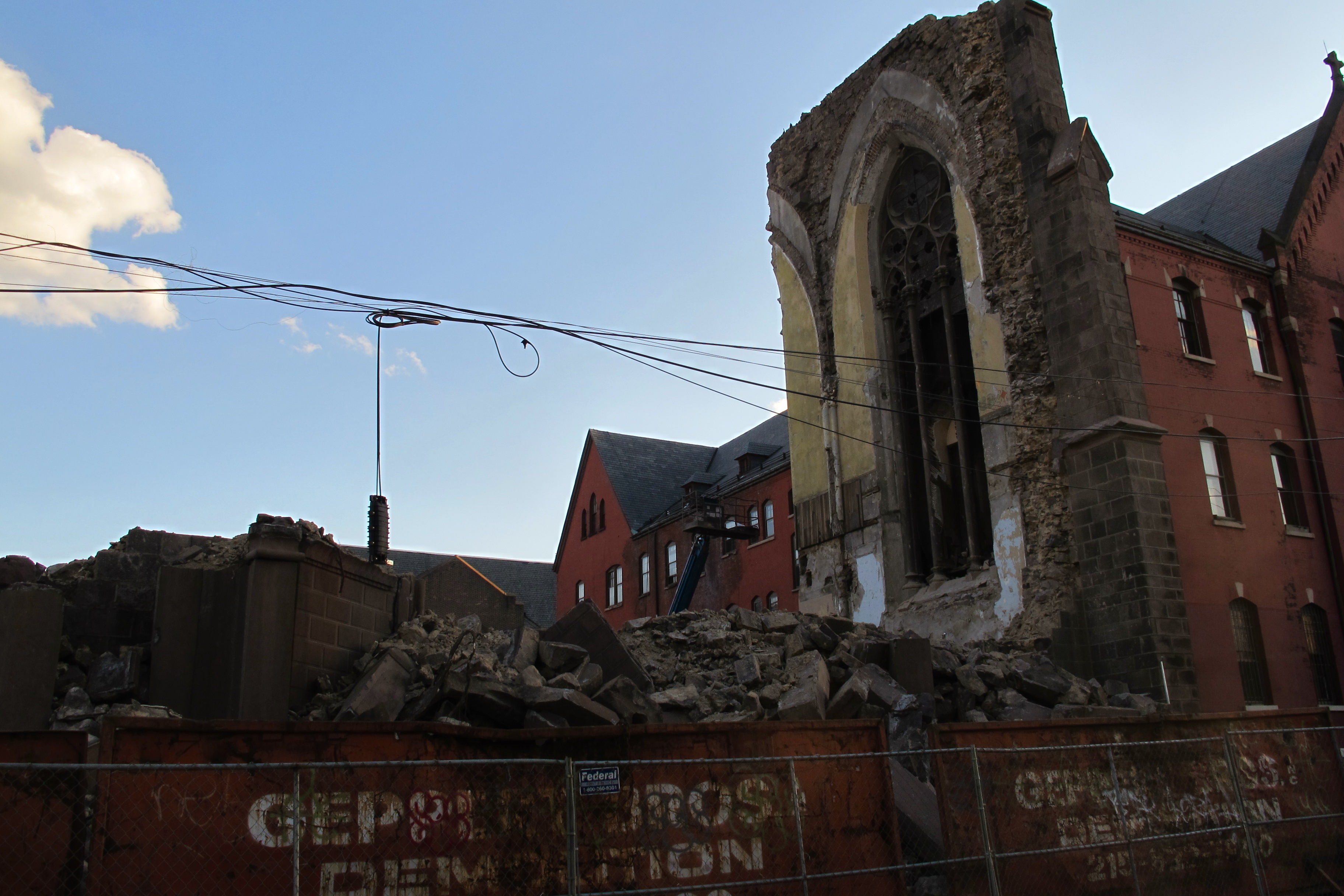 (St. Boniface Church demolition, Norris Square. April 2012.)