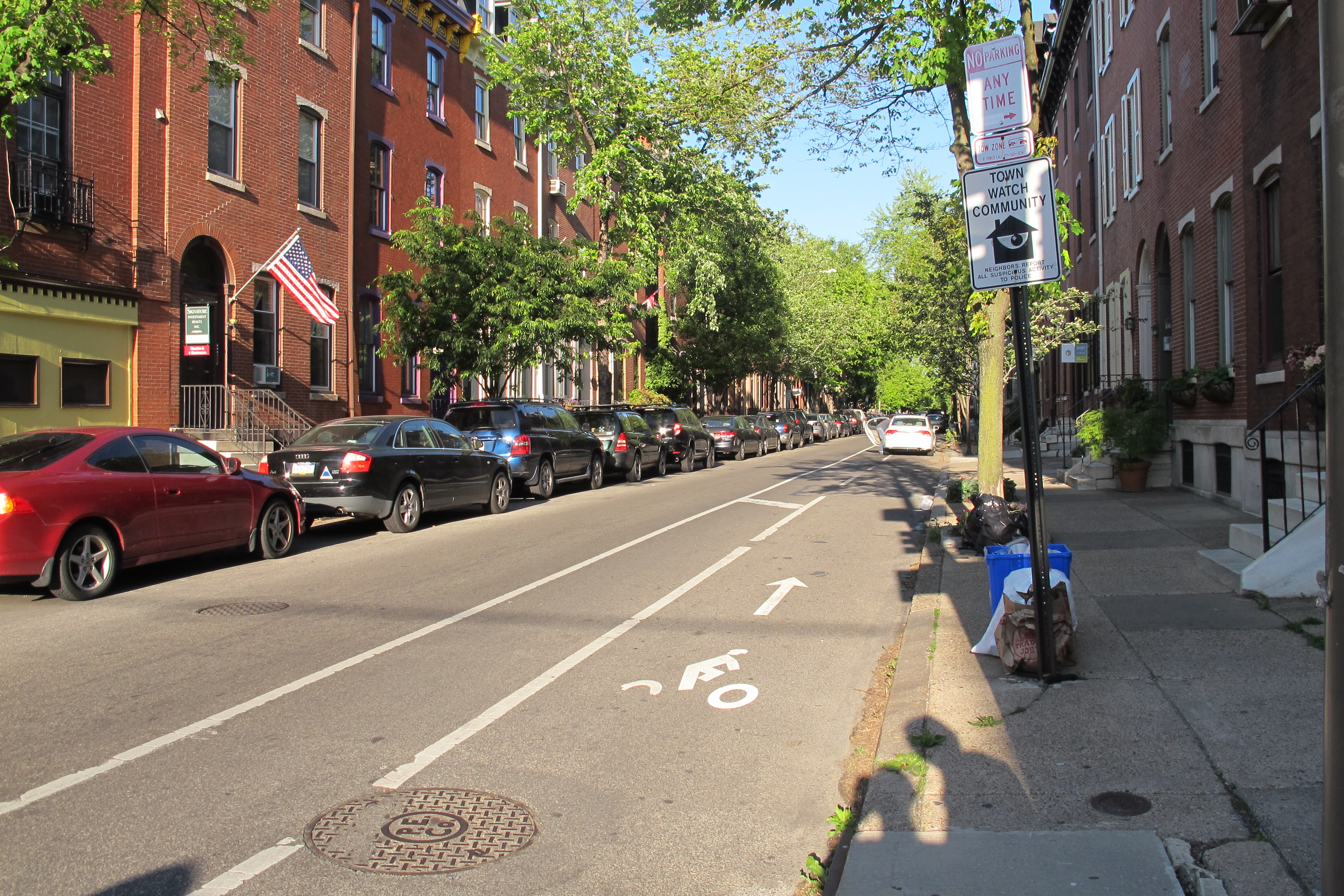 Looking east down the Pine Street bike lane, from 22nd Street.