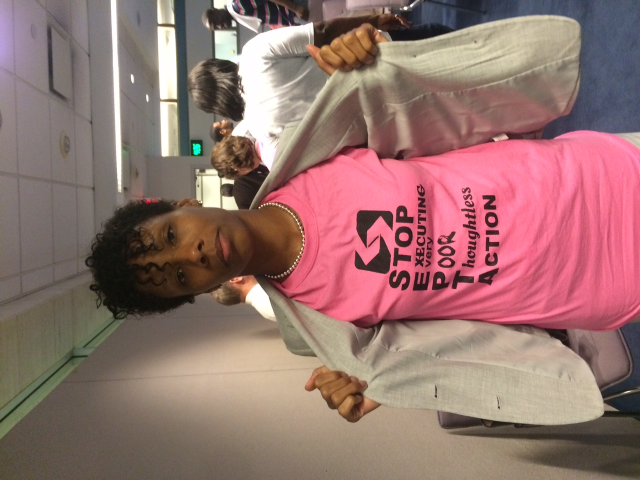 Kimberly Washington shows off SEPTA protest shirt