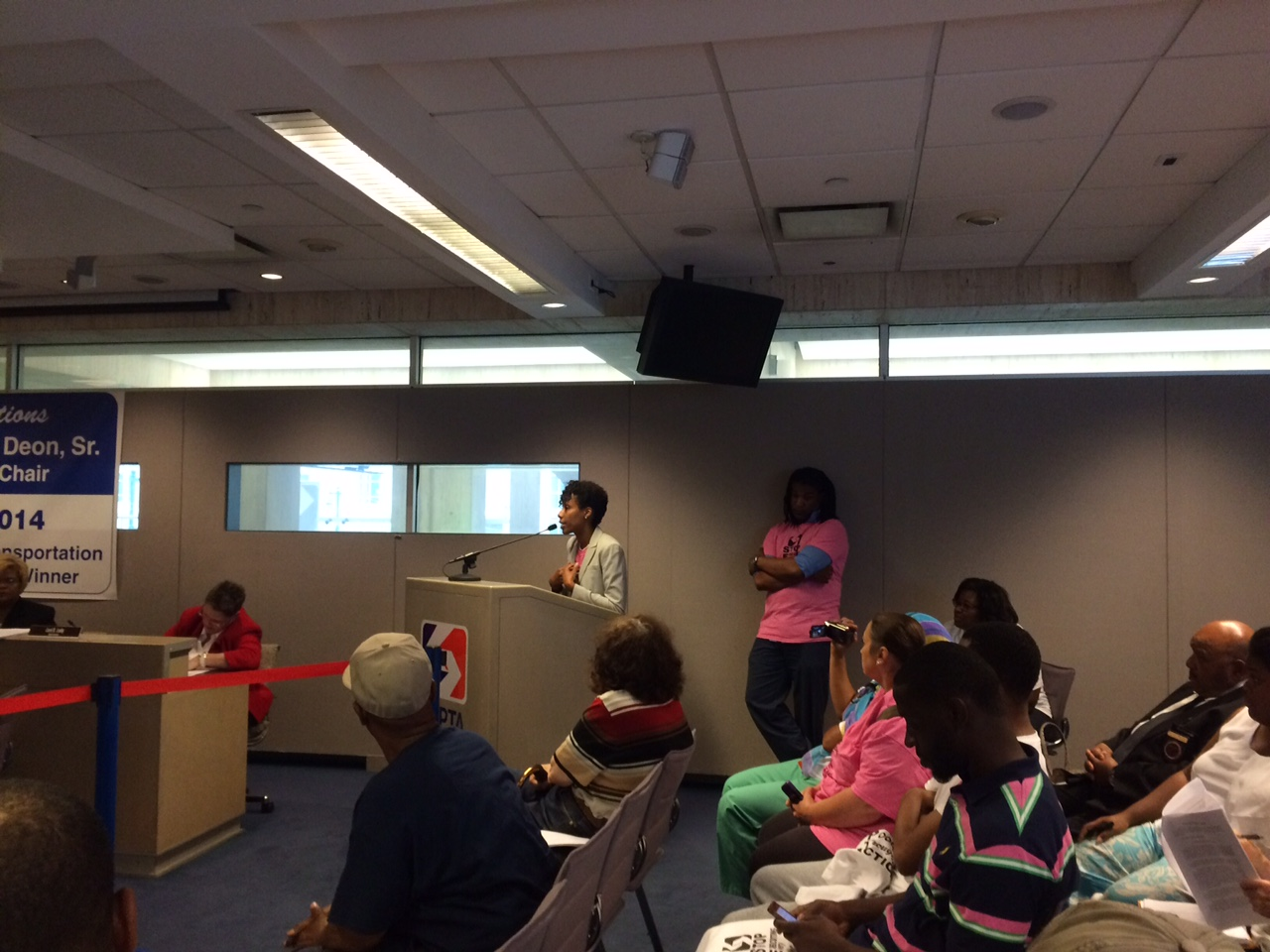 Kimberly Washington speaking to SEPTA Board