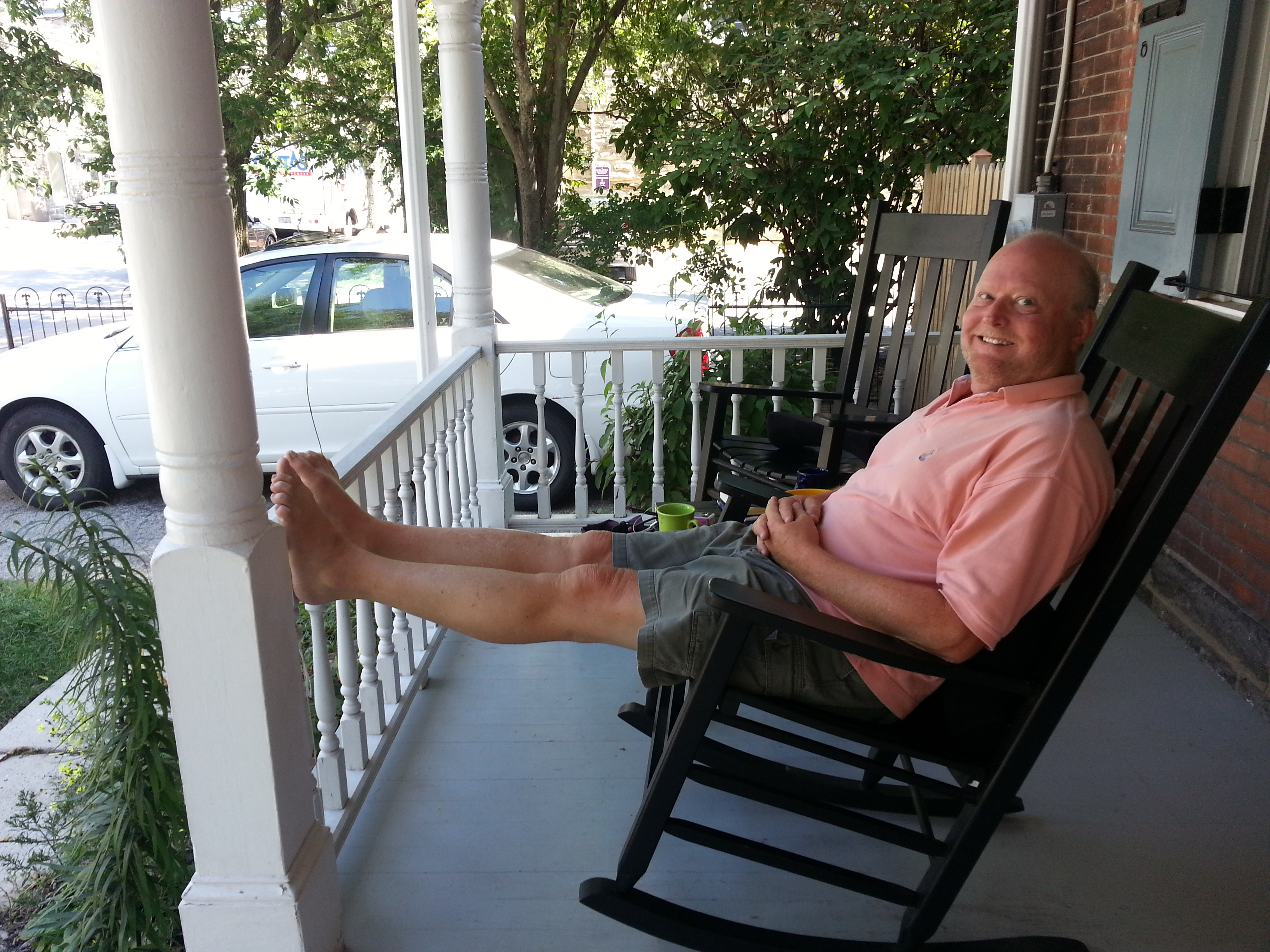Long-time city planner Richard Redding on his Chestnut Hill porch